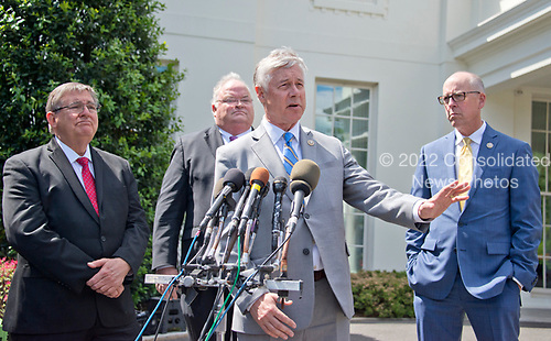 United States Representative Fred Upton (Republican of Michigan) announces his support for the GOP health care plan at the White House in Washington, DC following a meeting with US President Donald J. Trump and other members of the Republican Caucus on Wednesday, May 3, 2017. From left to right: US Representative Michael Burgess (Republican of Texas),  US Representative Billy Long (Republican of Missouri), Representative Upton, and US Representative Greg Walden (Republican of Oregon), Chairman of the US House Energy and Commerce Committee.<br /> Credit: Ron Sachs / CNP