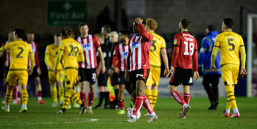 Lincoln City's Tayo Edun at the end of the game<br /> <br /> Photographer Chris Vaughan/CameraSport<br /> <br /> The EFL Sky Bet League One - Lincoln City v Milton Keynes Dons - Tuesday 11th February 2020 - LNER Stadium - Lincoln<br /> <br /> World Copyright © 2020 CameraSport. All rights reserved. 43 Linden Ave. Countesthorpe. Leicester. England. LE8 5PG - Tel: +44 (0) 116 277 4147 - admin@camerasport.com - www.camerasport.com