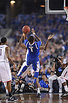 07 April 2014: James Young (1) of the University of Kentucky puts up a shot against the University of Connecticut during the 2014 NCAA Men's DI Basketball Final Four Championship at AT&T Stadium in Arlington, TX. Connecticut defeated Kentucky 60-54 to win the national title. Peter Lockley/NCAA Photos