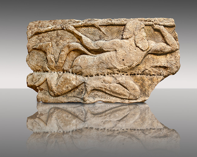 """Satyr from the """"Satyr Hunting Wils Animals, freezes, 460 B.C. From Xanthos, UNESCO World Heritage site, south west Turkey. A British Museum exhibit GR 1848-10-20-2-9 (sculpture B 2902- 298)."""