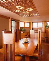 Frank Lloyd Wright: Frank Lloyd Wright Home & Studio, Oak Park.  Dining room, 1895. Arts & Crafts style. (Ref. H. K. Barnett)
