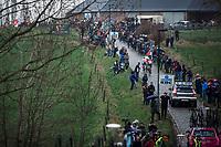 Early Breakaway group riding the 'Haaghoek' cobbles. <br /> <br /> 74th Omloop Het Nieuwsblad 2019 (BEL)<br /> Gent – Ninove: 200km<br /> ©kramon