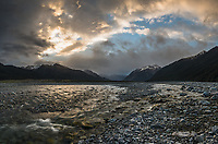 Sunset over Waimakariri River near Arthurs Pass village, Arthur's Pass National Park, West Coast, New Zealand, NZ