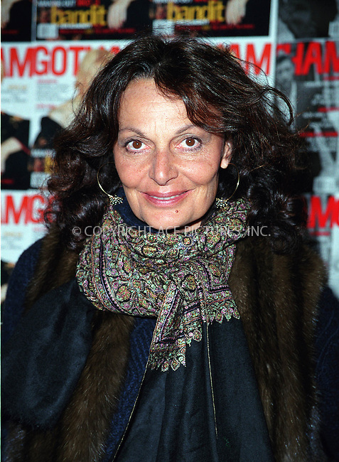 * WORLD SYNDICATION RIGHTS *  ..Designer DIANE VON FURSTENBERG arriving at the Regent Hotel in New York's Walls Street for the Gotham Magazine's One-Year Anniversary Celebration. January 8, 2001.  © 2002 by Alecsey Boldeskul.  ONE-TIME REPRODUCTION RIGHTS.