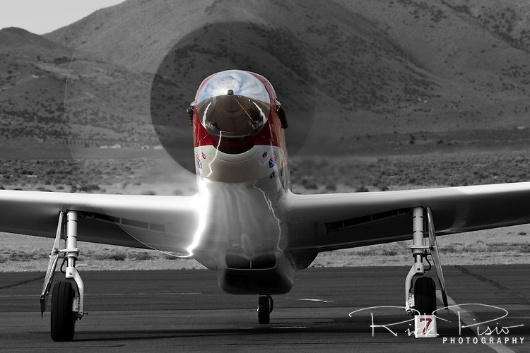 "P-51 Mustang Air Racer ""Strega"" runs up the RPM's after a heat race at the 2012 Reno National Championship Air Races."