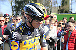 Belgian National Champion Yves Lampaert (BEL) Deceuninck-Quick Step at sign on before the 2019 E3 Harelbeke Binck Bank Classic 2019 running 203.9km from Harelbeke to Harelbeke, Belgium. 29th March 2019.<br /> Picture: Eoin Clarke | Cyclefile<br /> <br /> All photos usage must carry mandatory copyright credit (© Cyclefile | Eoin Clarke)