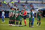 Referee speak with players of Deportivo during La Liga Smartbank match round 39 between Malaga CF and RC Deportivo de la Coruna at La Rosaleda Stadium in Malaga, Spain, as the season resumed following a three-month absence due to the novel coronavirus COVID-19 pandemic. Jul 03, 2020. (ALTERPHOTOS/Manu R.B.)