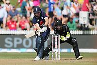 England's Jos Buttler batting. New Zealand Blackcaps v England. One Day International Cricket. Seddon Park, Hamilton, New Zealand on Sunday 25 February 2018.<br /> <br /> Copyright photo: &copy; Bruce Lim / www.photosport.nz