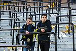 Solna 2014-03-31 Fotboll Allsvenskan AIK - IFK G&ouml;teborg :  <br /> Unga AIK supportrar deppar efter matchen<br /> (Foto: Kenta J&ouml;nsson) Nyckelord:  AIK Gnaget Solna IFK G&ouml;teborg Bl&aring;vitt supporter fans publik supporters depp besviken besvikelse sorg ledsen deppig nedst&auml;md uppgiven sad disappointment disappointed dejected