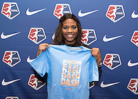 #11 overall pick Marissa Diggs of the Houston Dash poses during the NWSL draft at the Pennsylvania Convention Center in Philadelphia, PA, on January 17, 2014.