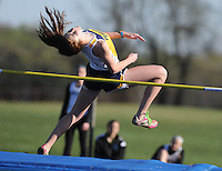 Perryville's Kaylee Haberkam competes in the high jump during a Five Team Track Meet at Perryville High School.