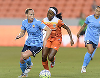 Christine Rampone (3) of Sky Blue FC drives up the field with the ball with Chioma Ubogagu (9) of the Houston Dash in pursuit on Friday, April 29, 2016 at BBVA Compass Stadium in Houston Texas. The Houston Dynamo and Sky Blue FC tied 0-0.