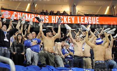 October 04-2016,Mercedes-Benz Arena,Berlin,Germany<br /> Champions Hockey League<br /> Ice Hockey	 <br /> Eisb&auml;ren Berlin - EV Zug<br /> Fans from Zug took off their shoes,celebrate the defeat of their team,Eisb&auml;ren win 4:0