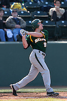 Cal Towey #18 of the Baylor Bears bats against the UCLA Bruins at Jackie Robinson Stadium on February 25, 2012 in Los Angeles,California. UCLA defeated Baylor 9-3.(Larry Goren/Four Seam Images)