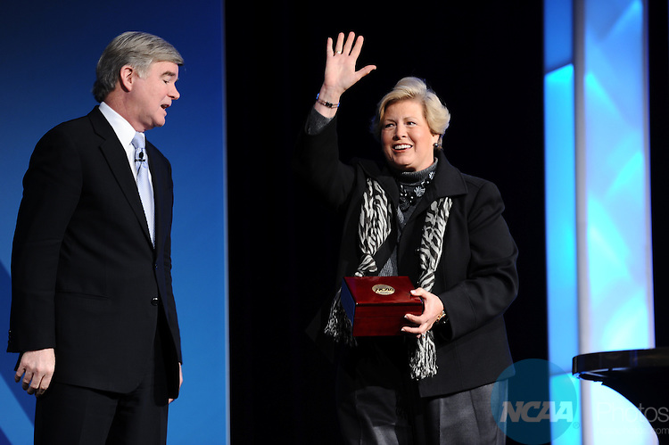 11 JAN 2012: The Opening Business Session at the 2012 NCAA Convention held at the JW Marriott and Indianapolis Convention Center in Indianapolis, IN.  Stephen Nowland/NCAA Photos.Pictured: Joan Cronan, Mark Emmert