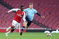 Fol Balogun of Arsenal and Blackpool's Rowan Roache chase after the loose ball during Arsenal Youth vs Blackpool Youth, FA Youth Cup Football at the Emirates Stadium on 16th April 2018