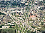 A freeway interchange in the Dallas-Ft. Worth metroplex from a window seat flying to Pittsburgh, Penn.<br /> <br /> Interchange of President George Bush Turnpike and I-635.
