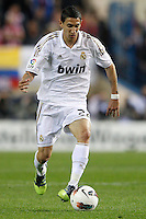 11.04.2012 MADRID, SPAIN - La Liga match played between At. Madrid vs Real Madrid (1-4) with hat-trick of Cristiano Ronaldo at Vicente Calderon stadium. The picture show Angel di Maria (Argentine midfielder of Real Madrid)