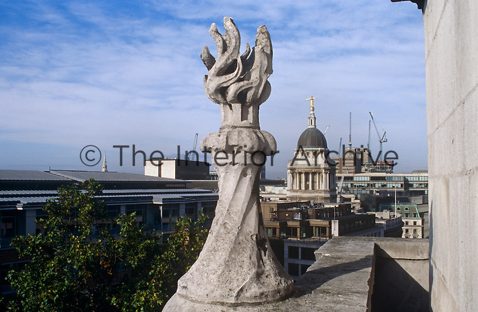 View of St Paul's Cathedral and the London skyline from the roof of the Christchurch Tower, both built by Sir Christopher Wren