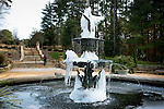 Roney Fountain in the Sarah P Duke Gardens is covered in ice following two days of below freezing temperatures