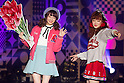 "(L to R) Saki Sato, Hikari Shibata, September 28, 2014, Tokyo, Japan : (L to R) Models Saki Sato and Hikari Shibata wearing fashion brand ""Zipper"" walk down the catwalk during the ""Moshi Moshi Nippon Festival 2014"" on September 28, 2014 in Tokyo, Japan. Several famous Idols such as Dempagumi idol group, Kyary Pamyu Pamyu and Harayuku models attend the Moshi Moshi Nippon Festival 2014 to promotes the Japanese pop culture (fashion, anime, music and food) to non-Japanese people. (Photo by Rodrigo Reyes Marin/AFLO)"