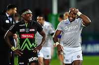 Mosese Ratuvou of Pau and Semesa Rokoduguni of Bath Rugby after the match. European Rugby Challenge Cup match, between Pau (Section Paloise) and Bath Rugby on October 15, 2016 at the Stade du Hameau in Pau, France. Photo by: Patrick Khachfe / Onside Images