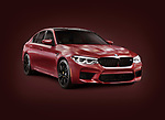 Sixth-generation BMW M5, 2018 performance car, luxury sport sedan, 5-series in dark red matte color. Isolated with a clipping path on burgundy background.