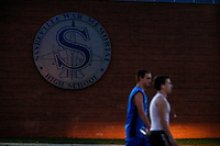 Sayreville's football team students attend a Board of Education meeting for discussing the continuity of the coaches involved in scandal of sexual assault by the school's football team in Parlin, New Jersey 10.21.2014. Photo by Eduardo MunozAlvarez/VIEWpress