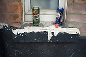 Empty beer cans and vodka bottle, West Hampstead.