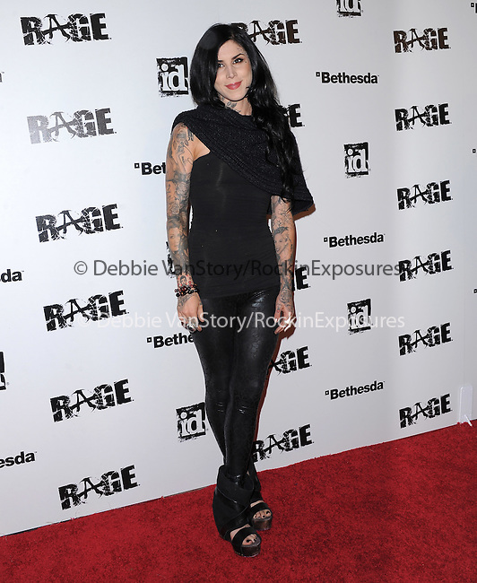 Kat Von D attends the official launch party for the most anticipated video game of the year RAGE in ChinaTown in Los Angeles, California on September 30,2011                                                                               © 2011 Hollywood Press Agency