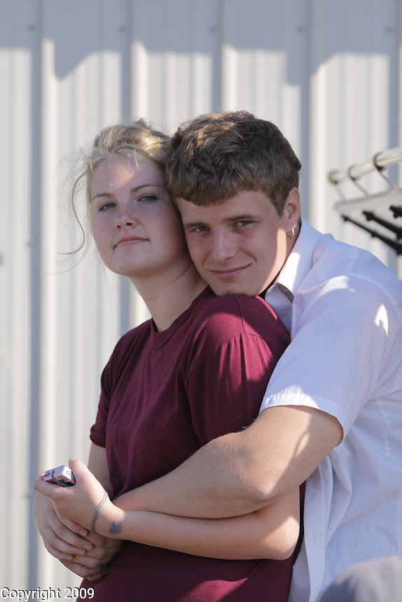 Katie Weidkamp, 19, of Everson, and driver of the rig, and Adam Wilkinson, 22, NW Washington Fair. She's been at the Fair since she could walk. August 20, 2009 PHOTOS BY MERYL SCHENKER