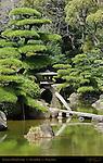 Kotoji Lantern Pond Topiary Keitaku Garden Tennoji Park Osaka Japan