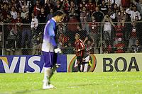 CURITIBA, PR, 15 DE MARÇO 2012 – ATLÉTICO-PR X SAMPAIO CORRÊA-MA - Marcinho (ao fundo), comemora o gol do Atlético contra o Sampaio Corrêa durante o segundo jogo da primeira fase da Copa do Brasil. A partida aconteceu na noite de quinta-feira (15), na Vila Capanema, em Curitiba. <br /> (FOTO: ROBERTO DZIURA JR./ BRAZIL PHOTO PRESS)