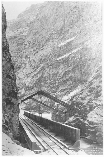 View of hanging bridge from elevated vantage point.  Caption on print: &quot;812 Suspended Bridge in the Royal [Gorge].&quot;<br /> D&amp;RG  Royal Gorge Hanging Bridge, CO  prob 1880-1889