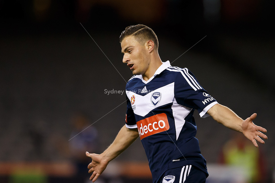 James TROISI of the Victory celebrates his second goal of the match in the round four match between Melbourne Victory and Wellington Phoenix in the Australian Hyundai A-League 2013-24 season at Etihad Stadium, Melbourne, Australia.<br /> This image is not for sale. Please visit zumapress.com for image licensing.