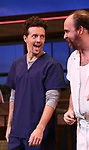 Jason Mraz and Eric Anderson take a bow at the curtain call of Broadway's 'Waitress' at The Brooks Atkinson Theatre on November 3, 2017 in New York City.