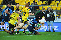 Tanielu Tele'a scores his second for the Blues during the Super Rugby match between the Hurricanes and Blues at Westpac Stadium in Wellington, New Zealand on Saturday, 15 June 2019. Photo: Dave Lintott / lintottphoto.co.nz