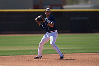 San Diego Padres third baseman Hudson Potts (10) during an Extended Spring Training game against the Colorado Rockies at Peoria Sports Complex on March 30, 2018 in Peoria, Arizona. (Zachary Lucy/Four Seam Images)