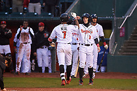 Lansing Lugnuts DJ Neal (7) is congratulated by Nick Podkul (3) after hitting a home run during a Midwest League game against the Wisconsin Timber Rattlers at Cooley Law School Stadium on May 2, 2019 in Lansing, Michigan. Lansing defeated Wisconsin 10-4. (Zachary Lucy/Four Seam Images)