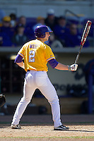 LSU Tigers pinch hitter Tyler Moore #2 at bat against the Auburn Tigers in the NCAA baseball game on March 24, 2013 at Alex Box Stadium in Baton Rouge, Louisiana. LSU defeated Auburn 5-1. (Andrew Woolley/Four Seam Images).