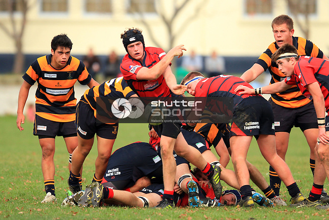 Marlborough Boys' College 1st XV vs Ashburton College Press Cup  Rugby match held at the MBC Front Field, Blenheim 7th June 2014. Final Score 37-5 to MBC. Photo Gavin Hadfield / Shuttersport