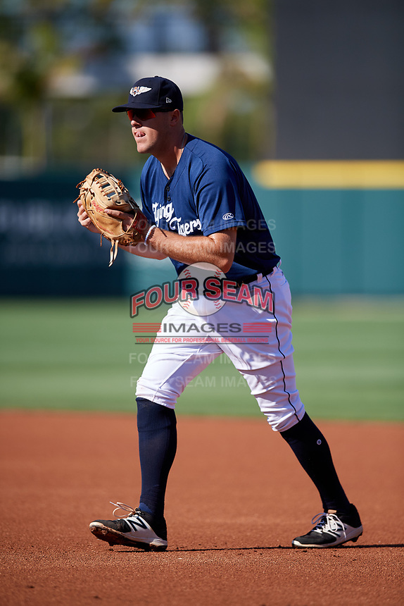 Lakeland Flying Tigers first baseman Blaise Salter (21) during the first game of a doubleheader against the Bradenton Marauders on April 11, 2018 at Publix Field at Joker Marchant Stadium in Lakeland, Florida.  Lakeland defeated Bradenton 5-4.  (Mike Janes/Four Seam Images)