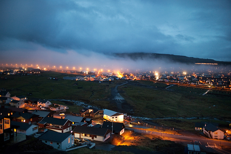 Fog rolls into the Faroese capital of Tórshavn.