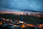 Fog rolls into the Faroese capital of Tórshavn.