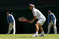 KeiNishikori of Japan in action during his victory over Sergiy Stakhovsky of Ukraine in their Men's Singles Second Round Match today - Nishikori def Stakhovsky 6-4, 6-7, 6-1, 7-6<br /> <br /> Photographer Ashley Western/CameraSport<br /> <br /> Wimbledon Lawn Tennis Championships - Day 3 - Wednesday 5th July 2017 -  All England Lawn Tennis and Croquet Club - Wimbledon - London - England<br /> <br /> World Copyright &not;&copy; 2017 CameraSport. All rights reserved. 43 Linden Ave. Countesthorpe. Leicester. England. LE8 5PG - Tel: +44 (0) 116 277 4147 - admin@camerasport.com - www.camerasport.com