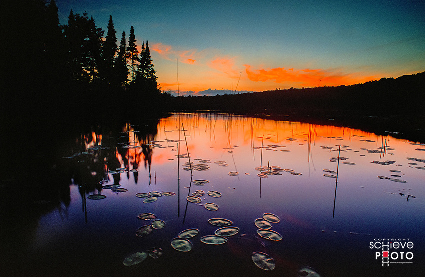 Post sunset glow on English Lake in northern Wisconsin.