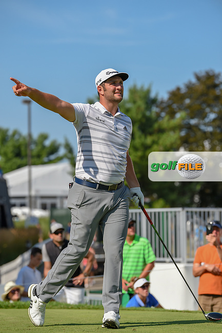 Jon Rahm (ESP) watches his tee shot on 17 during 3rd round of the World Golf Championships - Bridgestone Invitational, at the Firestone Country Club, Akron, Ohio. 8/4/2018.<br /> Picture: Golffile | Ken Murray<br /> <br /> <br /> All photo usage must carry mandatory copyright credit (© Golffile | Ken Murray)