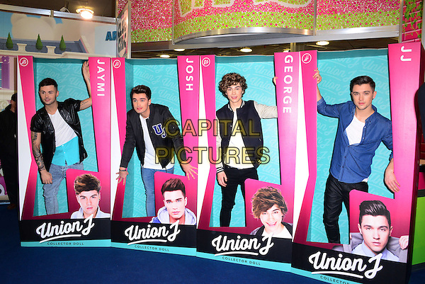 LONDON, ENGLAND - JANUARY 21: Union J band members (L-R) Jaymi Hensley, Josh Cuthbert, George Shelley, JJ Hamblett attend Toy Fair, UK's biggest toy fair, to launch a range of new 12&quot; Collector Doll versions of themselves, at Olympia London, Hammersmith Road, Kensington on January 21, 2014, in London, England.  <br /> CAP/JOR<br /> &copy;Nils Jorgensen/Capital Pictures