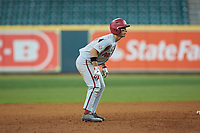 Robert Moore (1) of the Arkansas Razorbacks takes his lead off of second base against the Texas Longhorns in game six of the 2020 Shriners Hospitals for Children College Classic at Minute Maid Park on February 28, 2020 in Houston, Texas. The Longhorns defeated the Razorbacks 8-7. (Brian Westerholt/Four Seam Images)