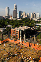 High rise construction workers reshape the Charlotte skyline as they construct new skyscrapers downtown. Photos taken as part of a story package on crane construction.